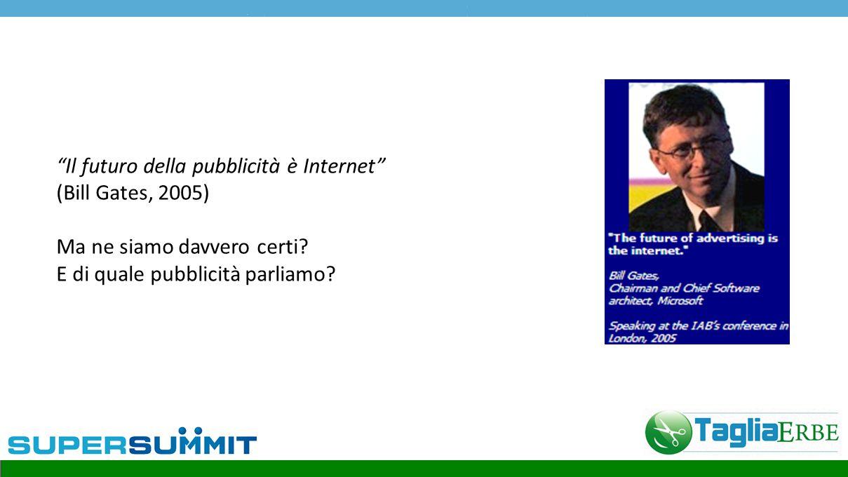 Il futuro della pubblicità è Internet (Bill Gates, 2005) Ma ne siamo davvero certi.