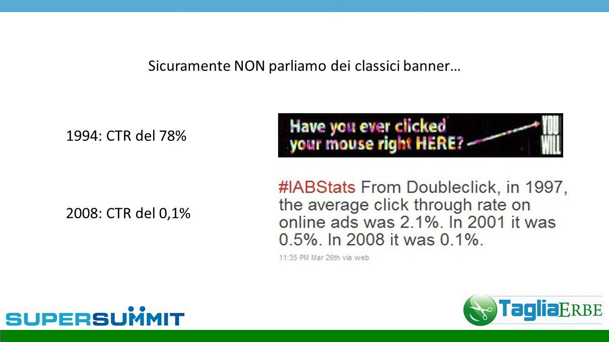 Sicuramente NON parliamo dei classici banner… 1994: CTR del 78% 2008: CTR del 0,1%