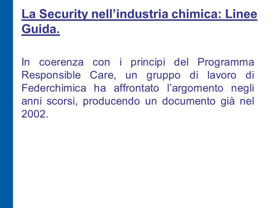 La Security nell'industria chimica: Linee Guida. In coerenza con i principi del Programma Responsible Care, un gruppo di lavoro di Federchimica ha aff