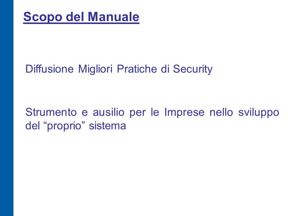 Scopo del Manuale Diffusione Migliori Pratiche di Security Strumento e ausilio per le Imprese nello sviluppo del proprio sistema