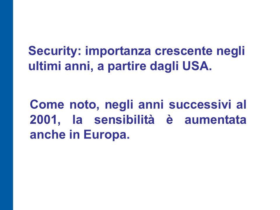Security: importanza crescente negli ultimi anni, a partire dagli USA. Come noto, negli anni successivi al 2001, la sensibilità è aumentata anche in E