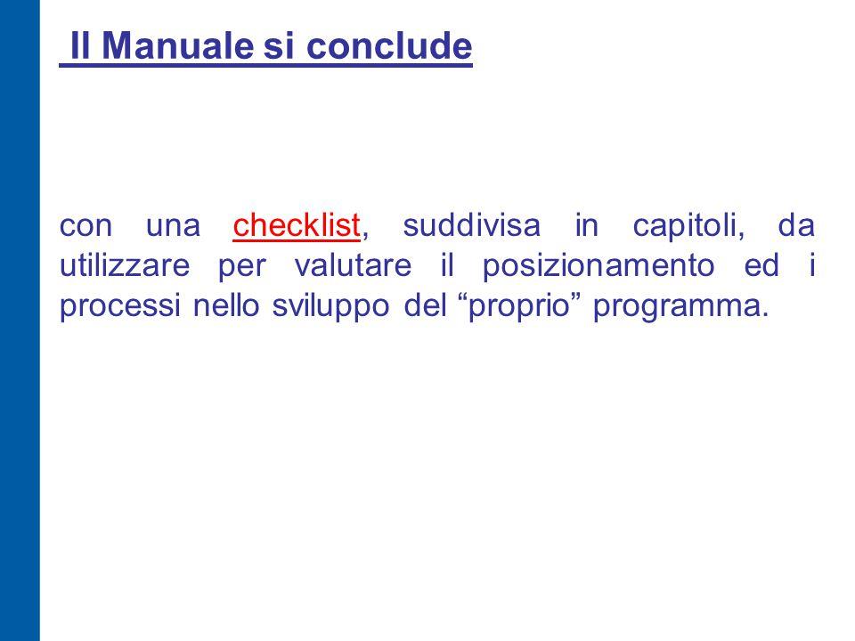 """Il Manuale si conclude con una checklist, suddivisa in capitoli, da utilizzare per valutare il posizionamento ed i processi nello sviluppo del """"propri"""