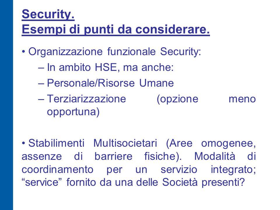 Security. Esempi di punti da considerare. Organizzazione funzionale Security: –In ambito HSE, ma anche: –Personale/Risorse Umane –Terziarizzazione (op
