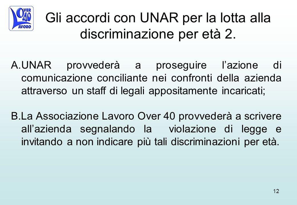 Gli accordi con UNAR per la lotta alla discriminazione per età 2.