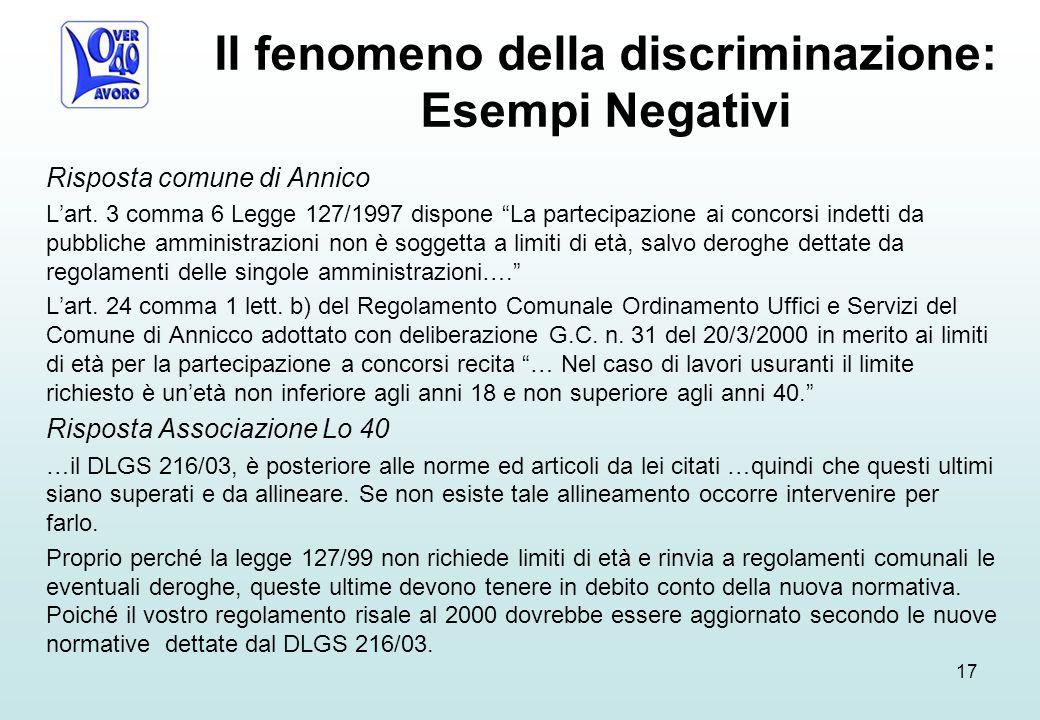 Il fenomeno della discriminazione: Esempi Negativi Risposta comune di Annico L'art.