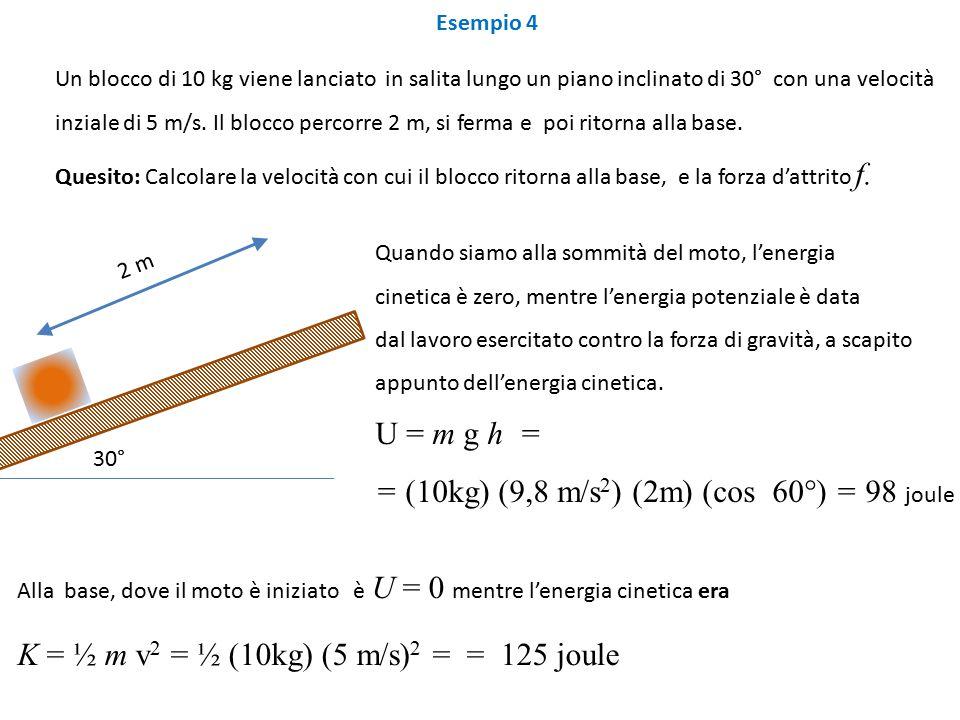 Esempio 4 Un blocco di 10 kg viene lanciato in salita lungo un piano inclinato di 30° con una velocità inziale di 5 m/s.