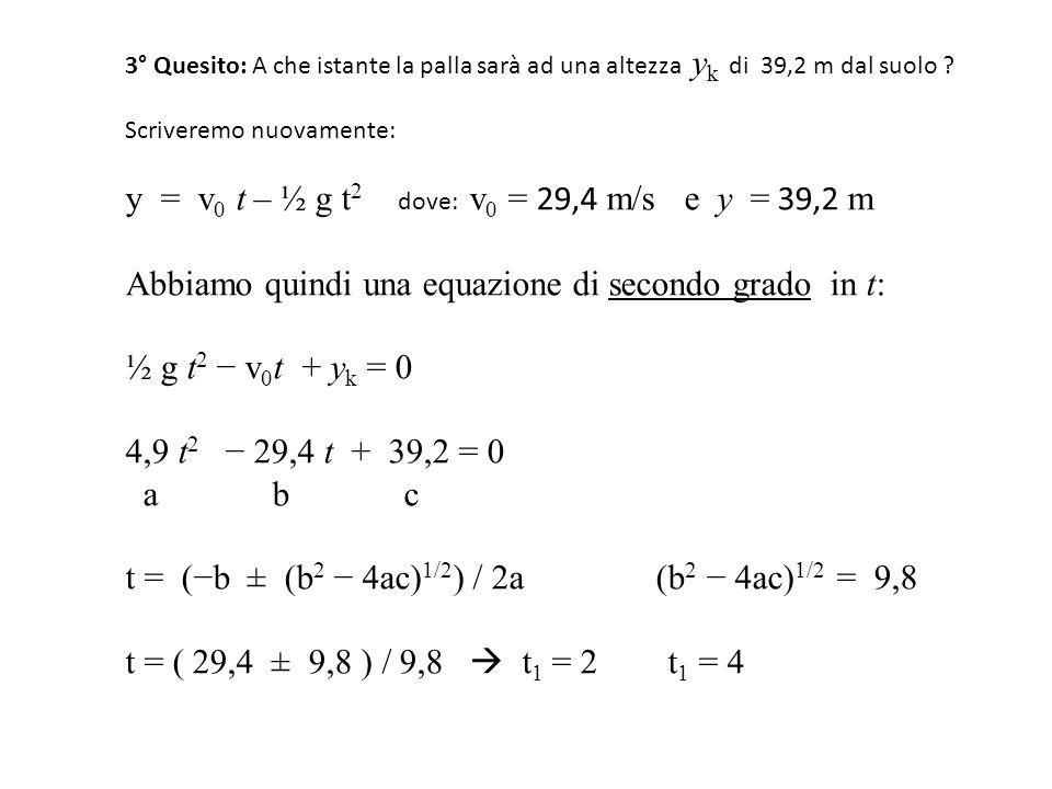 3° Quesito: A che istante la palla sarà ad una altezza y k di 39,2 m dal suolo ? Scriveremo nuovamente: y = v 0 t – ½ g t 2 dove: v 0 = 29,4 m/s e y =