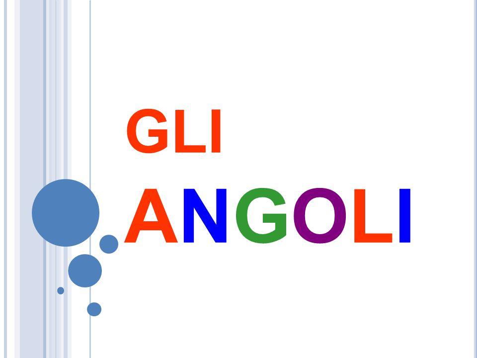 G LI ANGOLI Un angolo è la parte di piano delimitata da due semirette aventi la stessa origine: le due semirette sono i lati dell'angolo l'origine in comune è il v ertice dell'angolo.