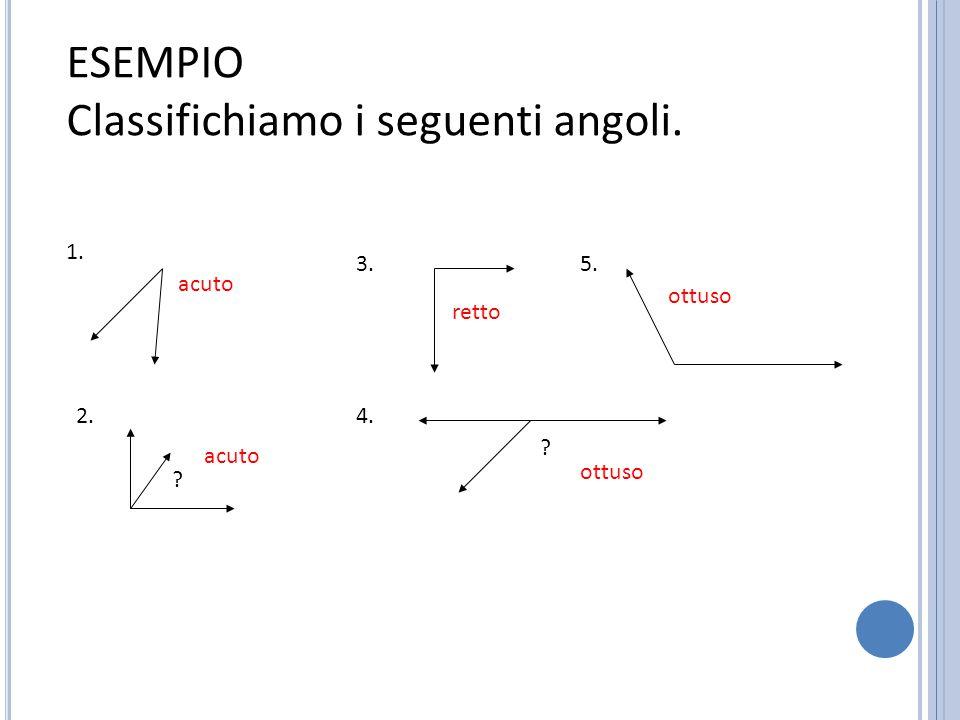 A NGOLI COMPLEMENTARI o Due angoli sono complementari se la loro somma misura 90° 58° + 32° = 90°