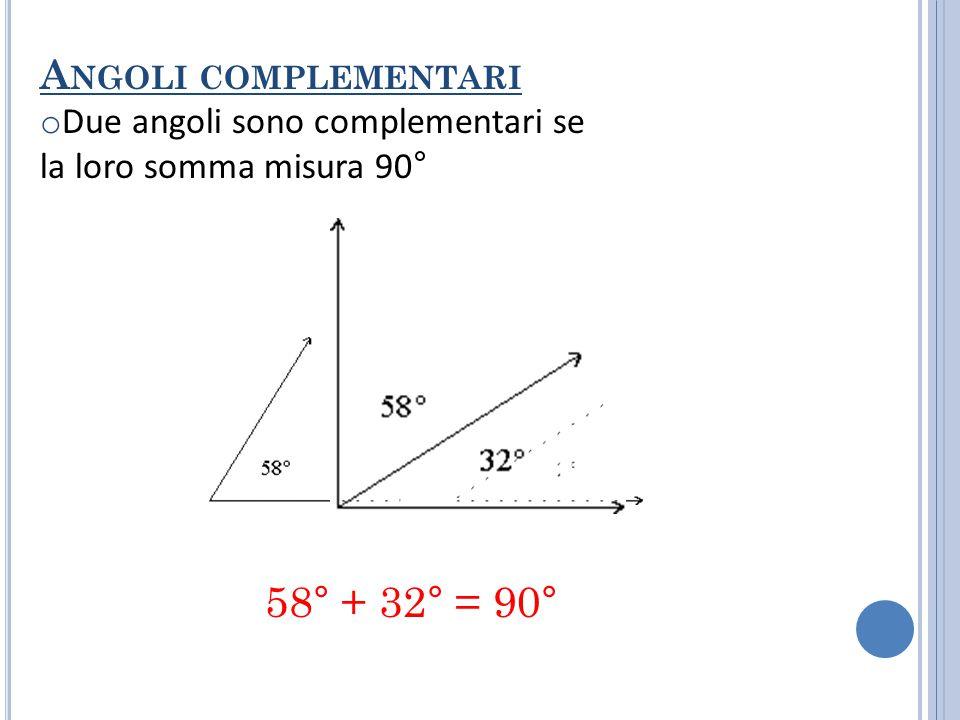 A NGOLI SUPPLEMENTARI o Due angoli sono supplementari se la loro somma misura 180° 139° + 41° = 180°