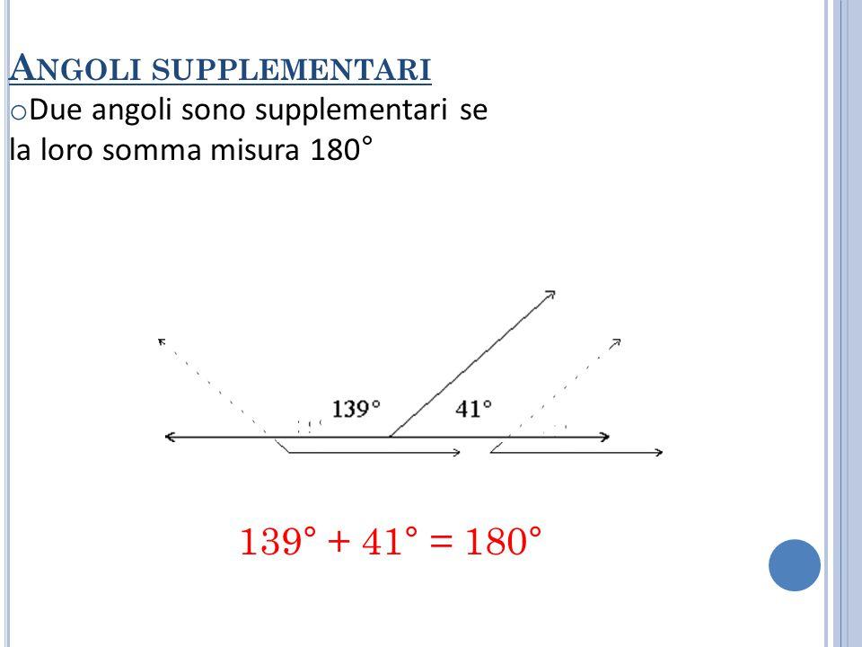 A NGOLI OPPOSTI AL VERTICE o Due angoli sono opposti al vertice se i lati di uno sono il prolungamento dei lati dell'altro Due angoli opposti al vertice sono congruenti.
