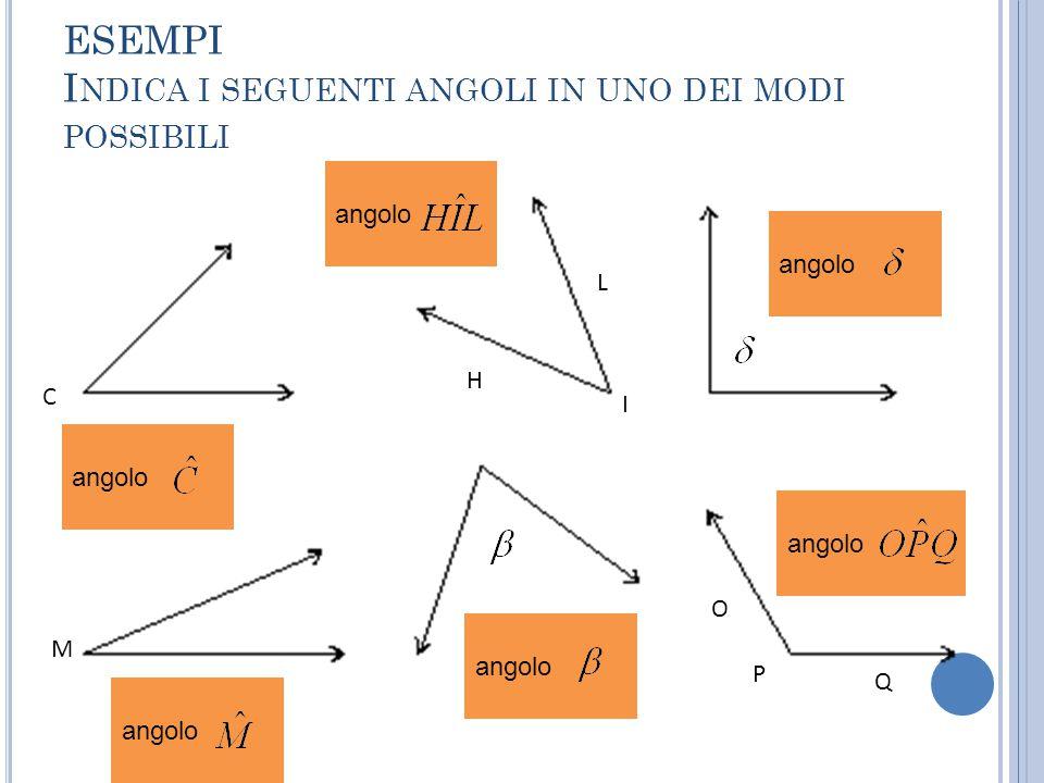 L' UNITÀ DI MISURA DEGLI ANGOLI L'unità di misura degli angoli è il grado.
