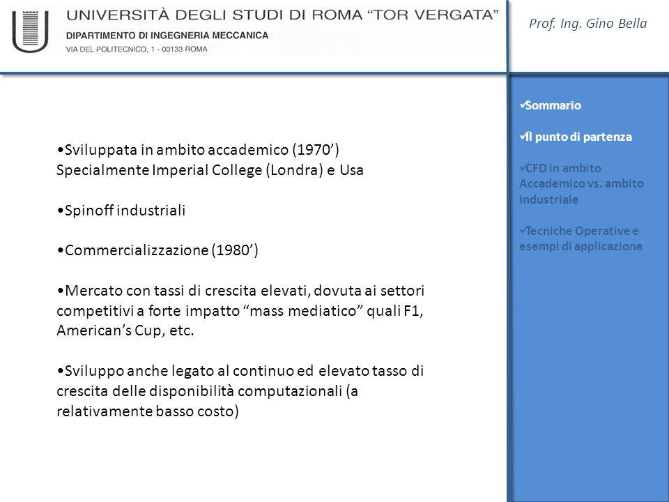 Prof. Ing. Gino Bella Sommario Il punto di partenza CFD in ambito Accademico vs. ambito Industriale Tecniche Operative e esempi di applicazione Svilup