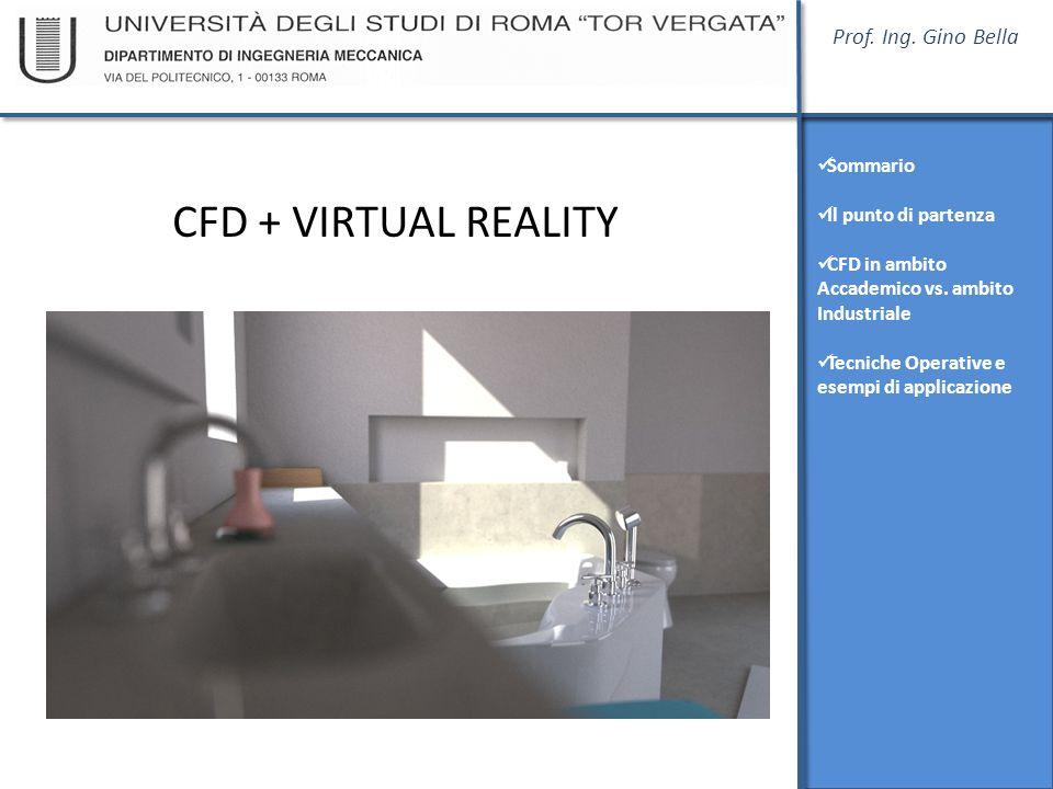 Prof. Ing. Gino Bella Sommario Il punto di partenza CFD in ambito Accademico vs. ambito Industriale Tecniche Operative e esempi di applicazione CFD +