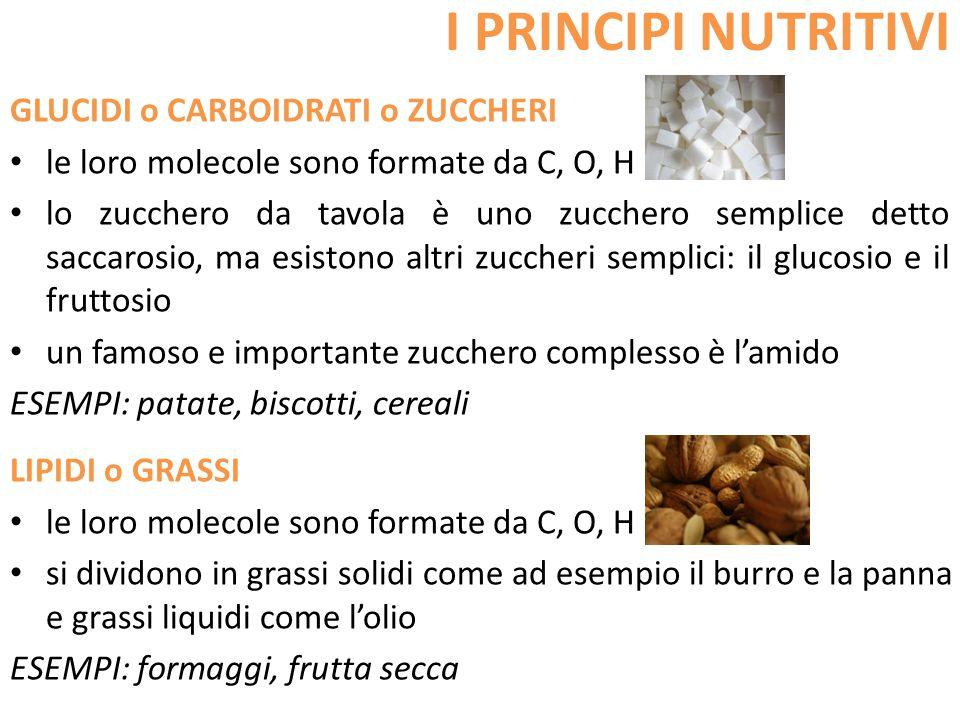 I PRINCIPI NUTRITIVI GLUCIDI o CARBOIDRATI o ZUCCHERI le loro molecole sono formate da C, O, H lo zucchero da tavola è uno zucchero semplice detto sac
