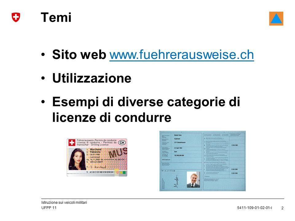 2 5411-109-01-02-01-i UFPP 11 Istruzione sui veicoli militari Sito web www.fuehrerausweise.ch Utilizzazione Esempi di diverse categorie di licenze di condurre Temi