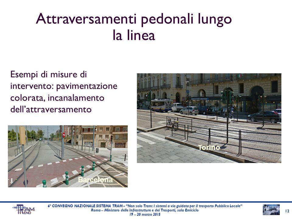 """Esempi di misure di intervento: pavimentazione colorata, incanalamento dell'attraversamento Barcelona Torino 6° CONVEGNO NAZIONALE SISTEMA TRAM - """"Non"""