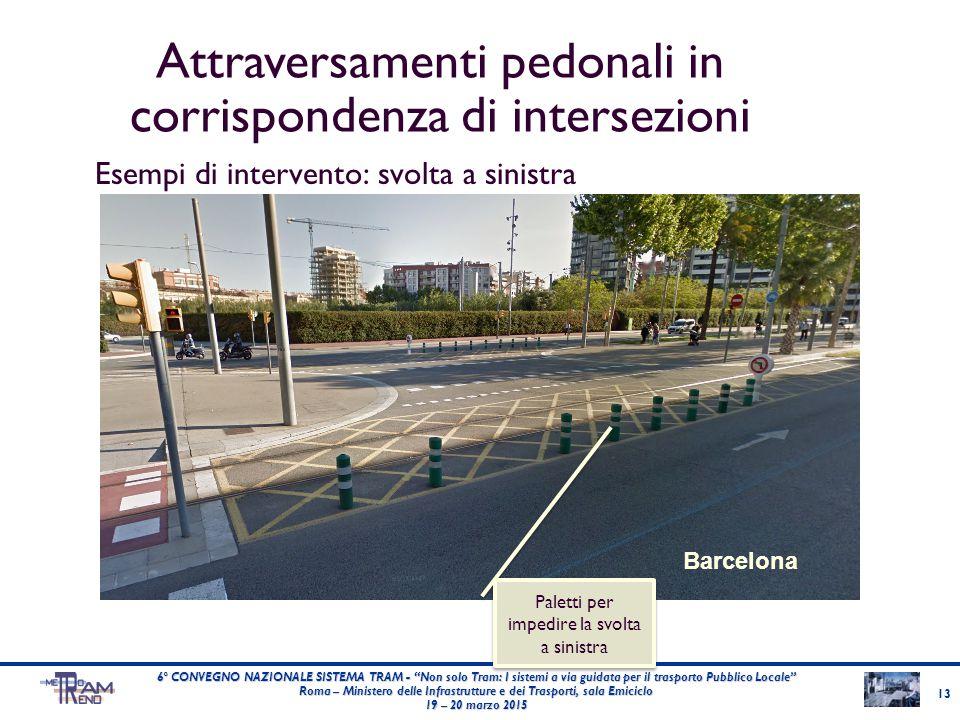"""Esempi di intervento: svolta a sinistra Barcelona Paletti per impedire la svolta a sinistra 6° CONVEGNO NAZIONALE SISTEMA TRAM - """"Non solo Tram: I sis"""