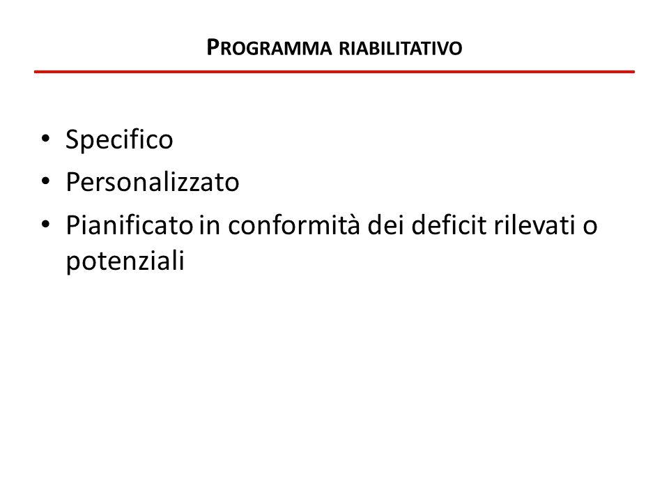 P ROGRAMMA RIABILITATIVO Specifico Personalizzato Pianificato in conformità dei deficit rilevati o potenziali
