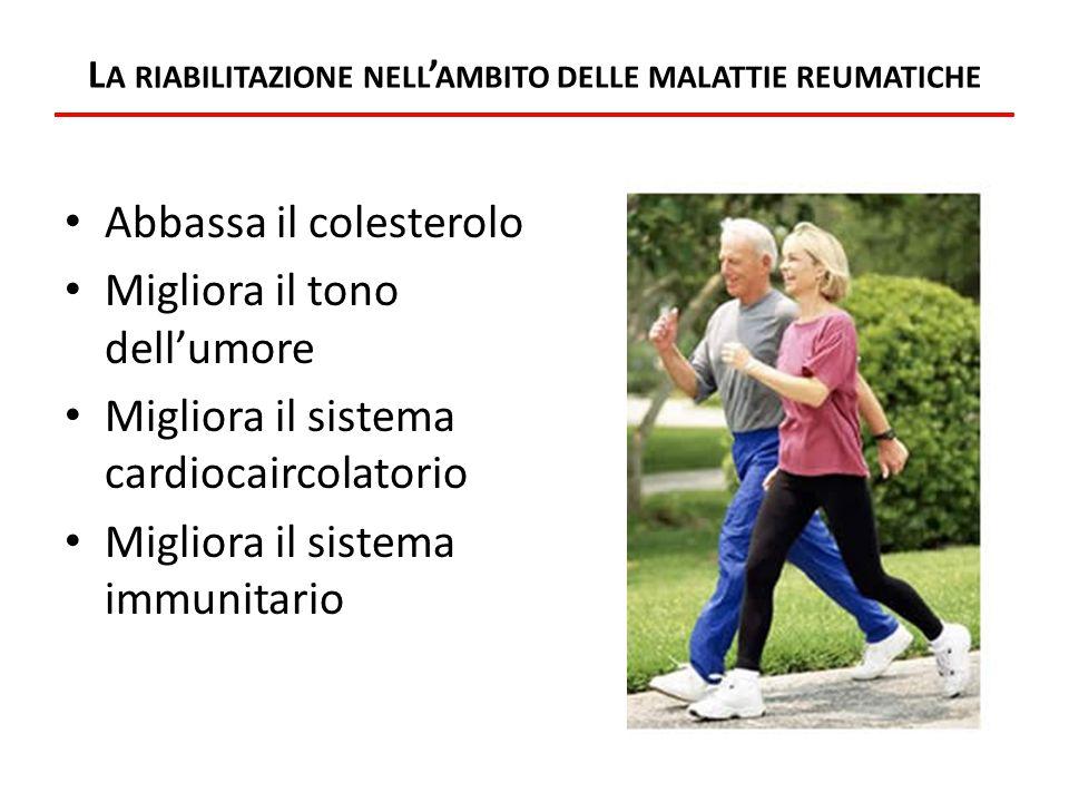 L A RIABILITAZIONE NELL ' AMBITO DELLE MALATTIE REUMATICHE Abbassa il colesterolo Migliora il tono dell'umore Migliora il sistema cardiocaircolatorio