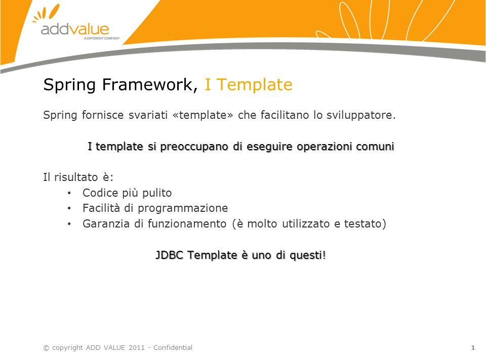 1 Spring Framework, I Template Spring fornisce svariati «template» che facilitano lo sviluppatore. I template si preoccupano di eseguire operazioni co