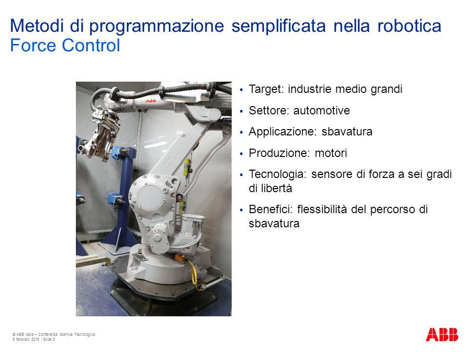 Metodi di programmazione semplificata nella robotica  Target: industrie medio grandi  Settore: automotive  Applicazione: sbavatura  Produzione: mo