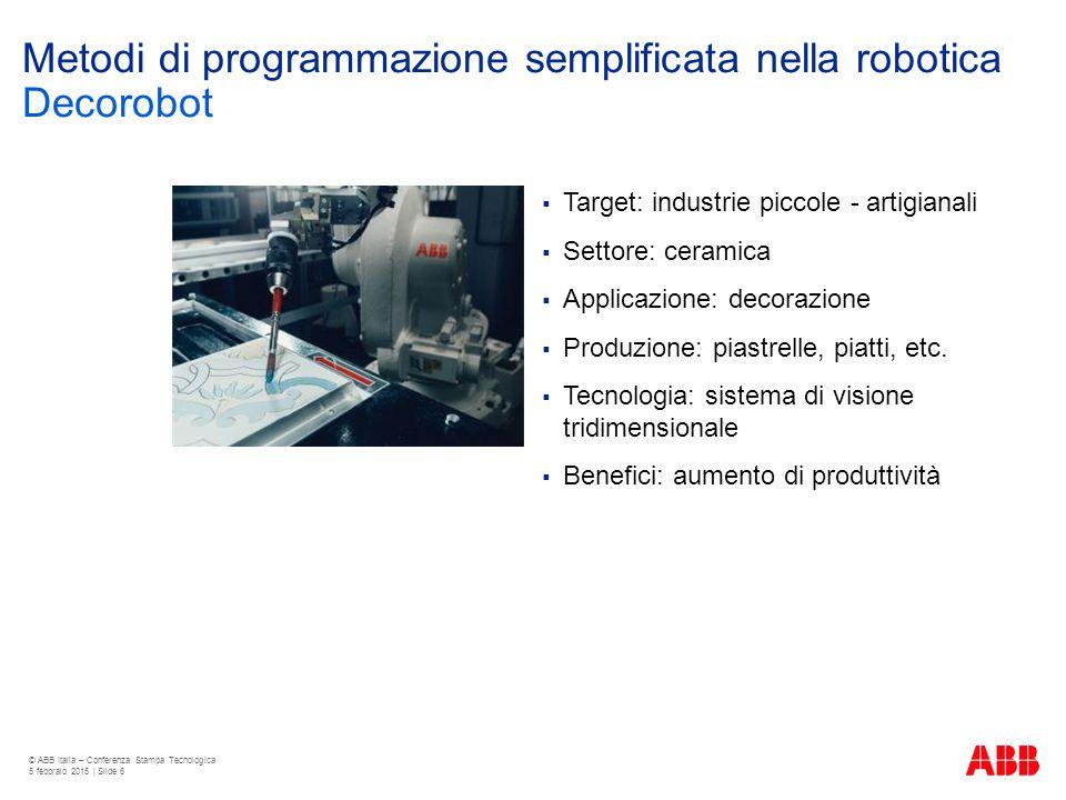 Metodi di programmazione semplificata nella robotica  Target: industrie piccole - artigianali  Settore: ceramica  Applicazione: decorazione  Produ