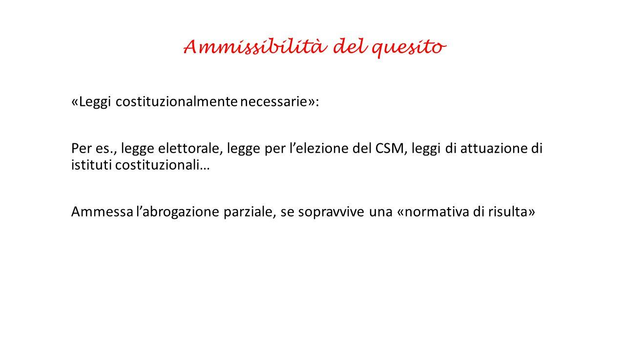Ammissibilità del quesito «Leggi costituzionalmente necessarie»: Per es., legge elettorale, legge per l'elezione del CSM, leggi di attuazione di istit