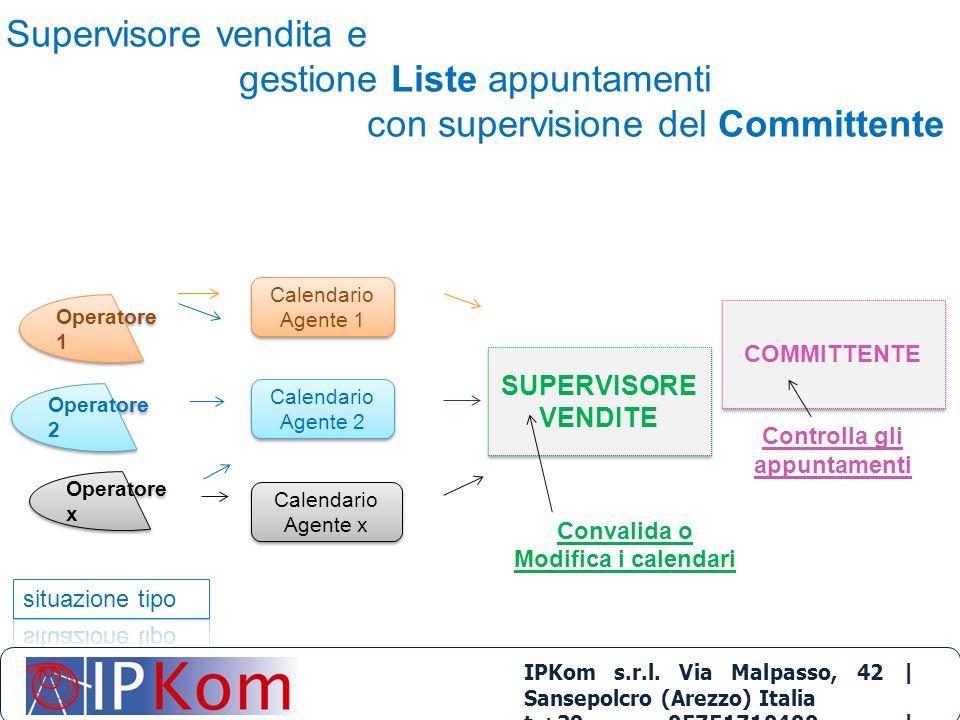 Supervisore vendita e gestione Liste appuntamenti con supervisione del Committente IPKom s.r.l. Via Malpasso, 42 | Sansepolcro (Arezzo) Italia t.+39 0