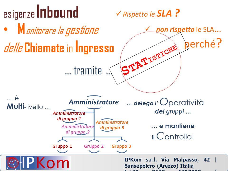 IPKom s.r.l. Via Malpasso, 42 | Sansepolcro (Arezzo) Italia t.+39 0575 1710400 | info@ipkom.com | www.ipkom.com non rispetto le SLA … perché ? Rispett