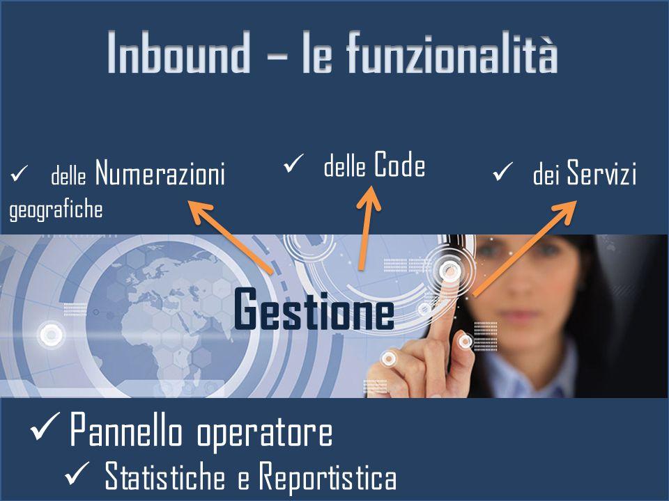 delle Numerazioni geografiche Gestione dei Servizi delle Code Statistiche e Reportistica Pannello operatore
