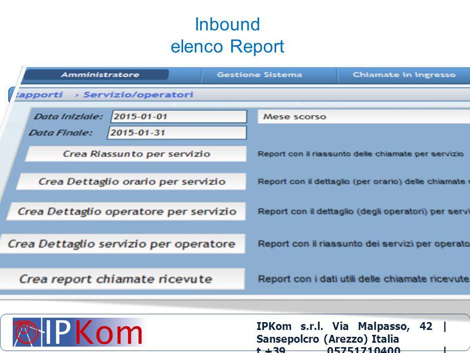 IPKom s.r.l. Via Malpasso, 42 | Sansepolcro (Arezzo) Italia t.+39 05751710400 | info@ipkom.com | www.ipkom.com Inbound elenco Report