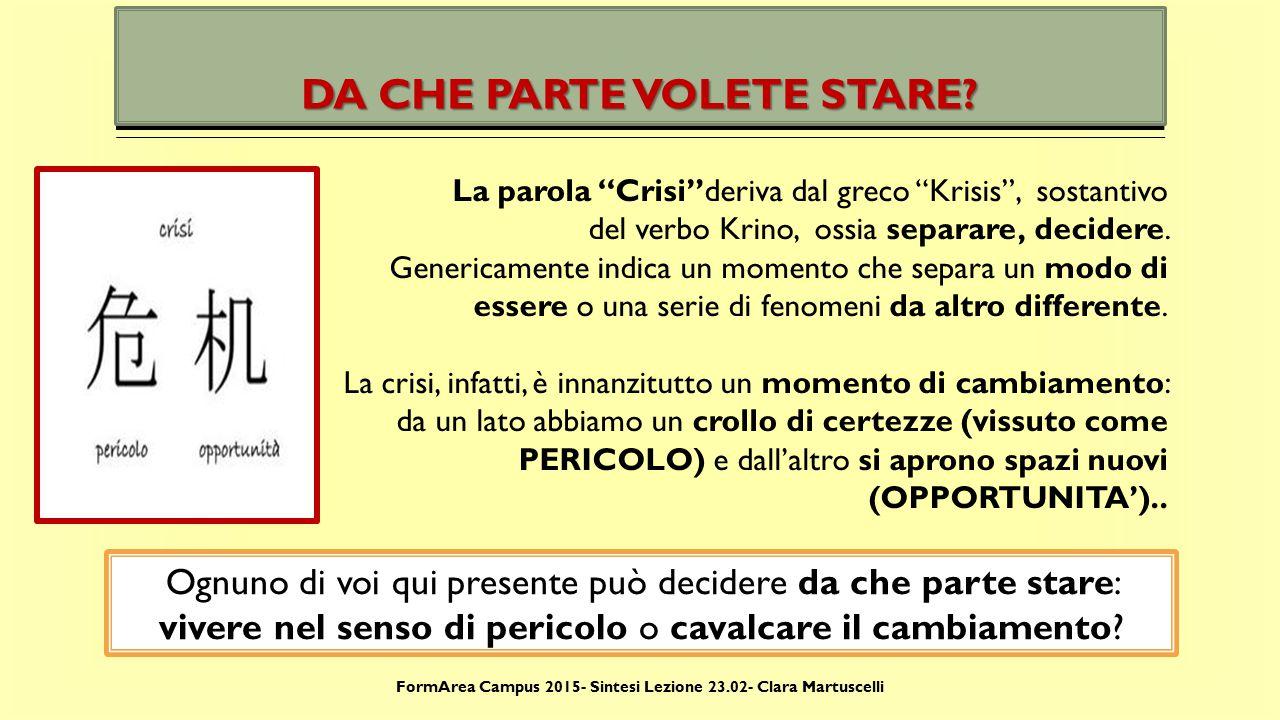 FormArea Campus 2015- Sintesi Lezione 23.02- Clara Martuscelli METTIAMOCI AL LAVORO ALLORA.