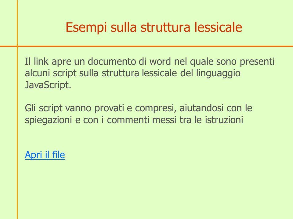 Esempi sulla struttura lessicale Il link apre un documento di word nel quale sono presenti alcuni script sulla struttura lessicale del linguaggio JavaScript.