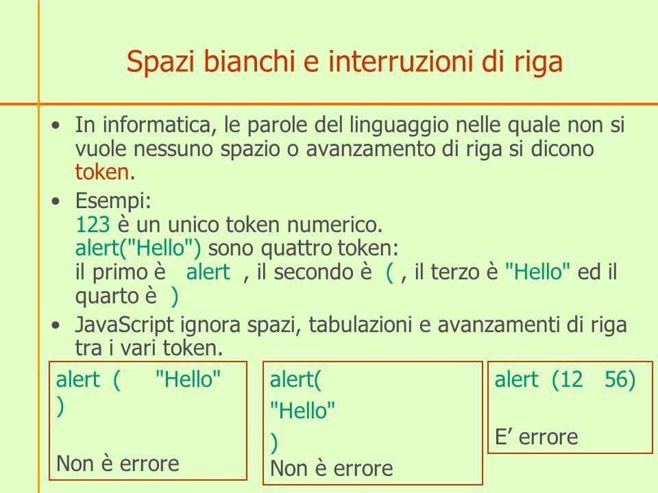 Spazi bianchi e interruzioni di riga In informatica, le parole del linguaggio nelle quale non si vuole nessuno spazio o avanzamento di riga si dicono token.