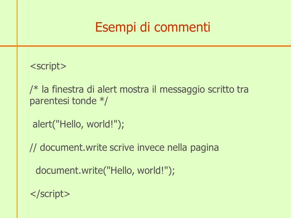 Esempi di commenti /* la finestra di alert mostra il messaggio scritto tra parentesi tonde */ alert(