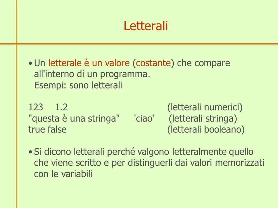 Letterali Un letterale è un valore (costante) che compare all'interno di un programma. Esempi: sono letterali 123 1.2(letterali numerici)
