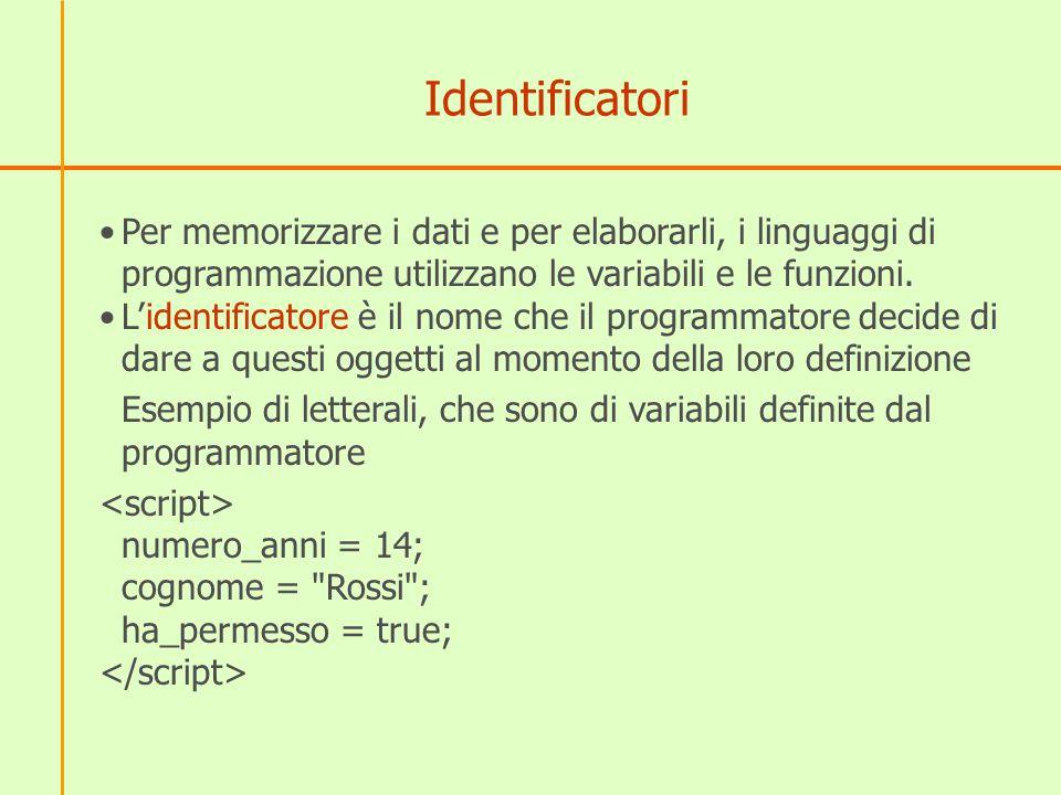 Identificatori Per memorizzare i dati e per elaborarli, i linguaggi di programmazione utilizzano le variabili e le funzioni. L'identificatore è il nom