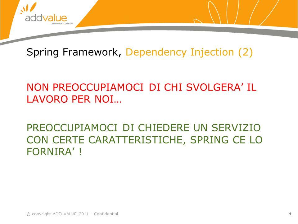 4 Spring Framework, Dependency Injection (2) NON PREOCCUPIAMOCI DI CHI SVOLGERA' IL LAVORO PER NOI… PREOCCUPIAMOCI DI CHIEDERE UN SERVIZIO CON CERTE C