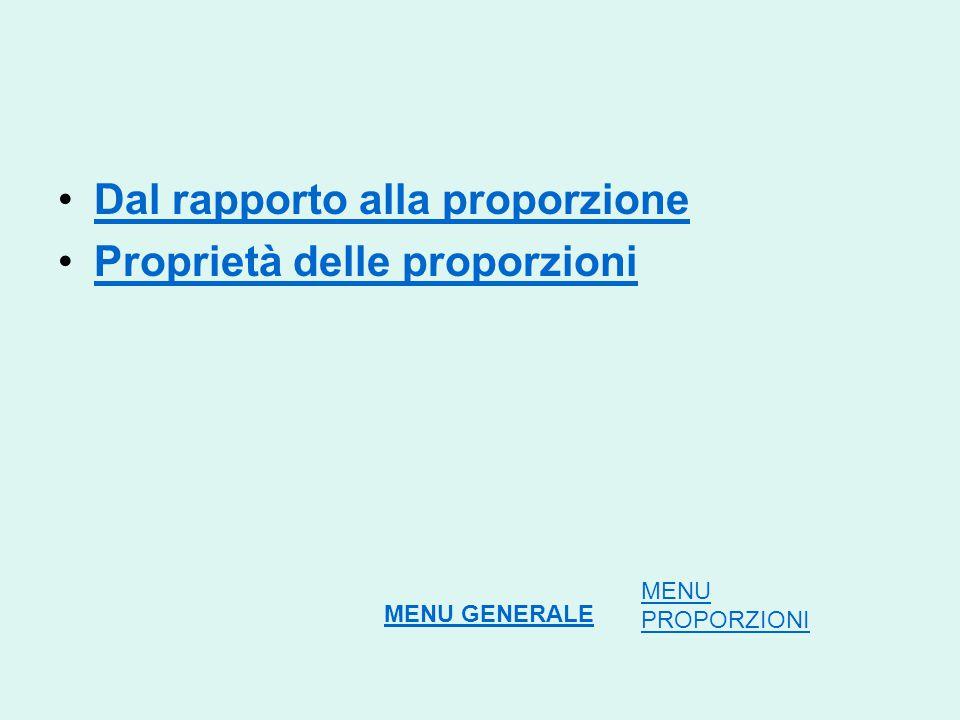 Dal rapporto alla proporzione Proprietà delle proporzioni MENU PROPORZIONI MENU GENERALE