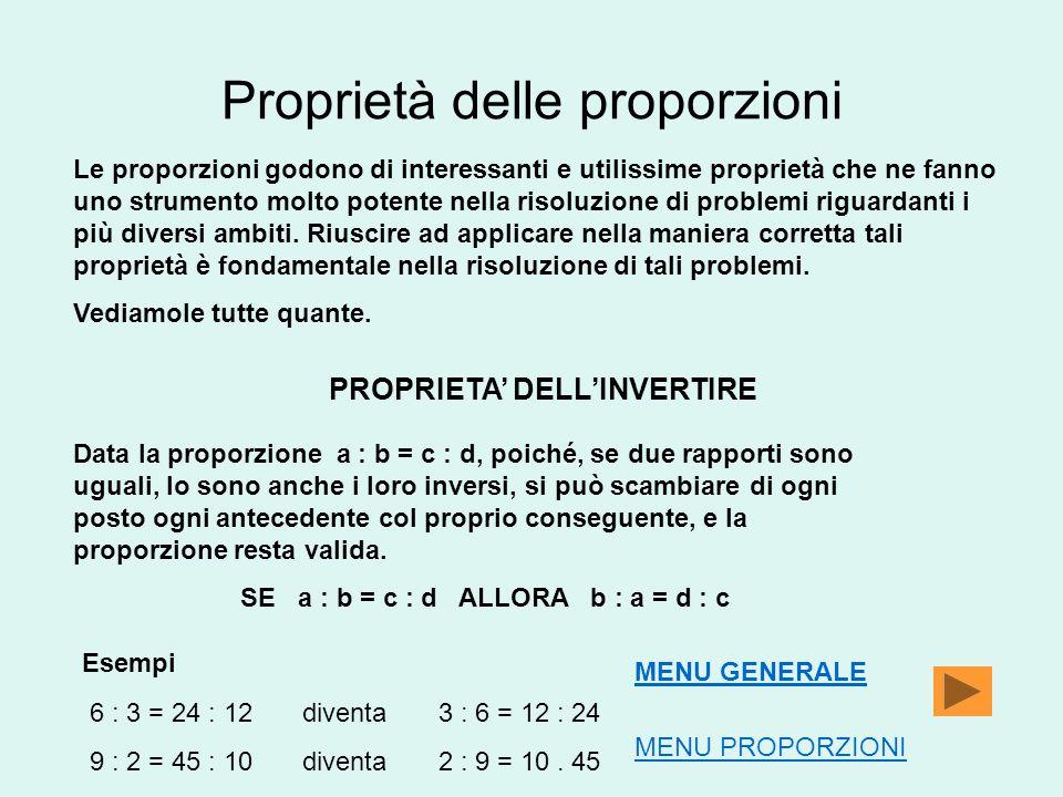 Proprietà delle proporzioni Le proporzioni godono di interessanti e utilissime proprietà che ne fanno uno strumento molto potente nella risoluzione di