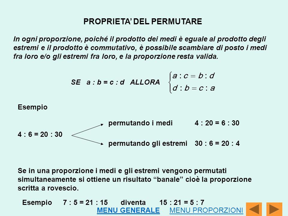 PROPRIETA' DEL PERMUTARE In ogni proporzione, poiché il prodotto dei medi è eguale al prodotto degli estremi e il prodotto è commutativo, è possibile