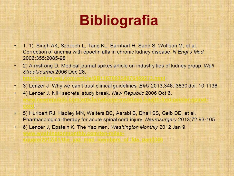 Bibliografia 1. 1) Singh AK, Szczech L, Tang KL, Barnhart H, Sapp S, Wolfson M, et al. Correction of anemia with epoetin alfa in chronic kidney diseas