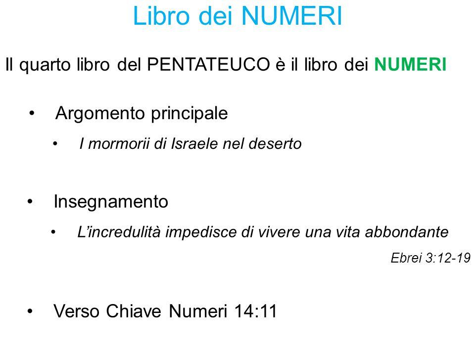 Libro dei NUMERI Argomento principale I mormorii di Israele nel deserto Verso Chiave Numeri 14:11 Il quarto libro del PENTATEUCO è il libro dei NUMERI