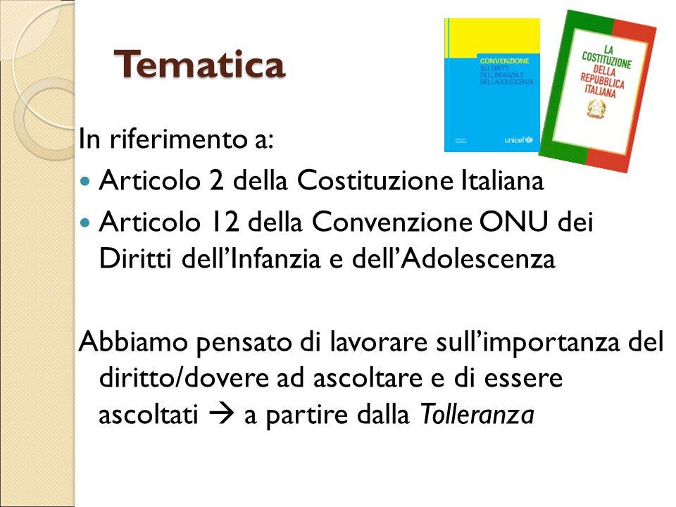 Tematica In riferimento a: Articolo 2 della Costituzione Italiana Articolo 12 della Convenzione ONU dei Diritti dell'Infanzia e dell'Adolescenza Abbia