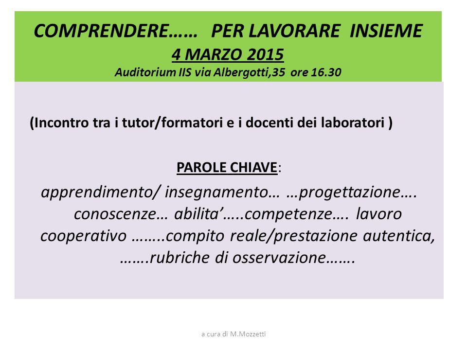 OBIETTIVI PER I LABORATORI PLENARIA 4 Marzo 1.Riconoscere modalità cooperative; 2.