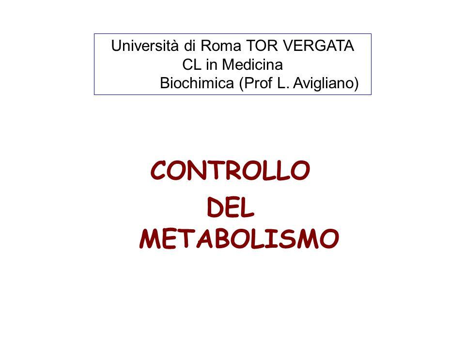 CONTROLLO DEL METABOLISMO Università di Roma TOR VERGATA CL in Medicina Biochimica (Prof L. Avigliano)