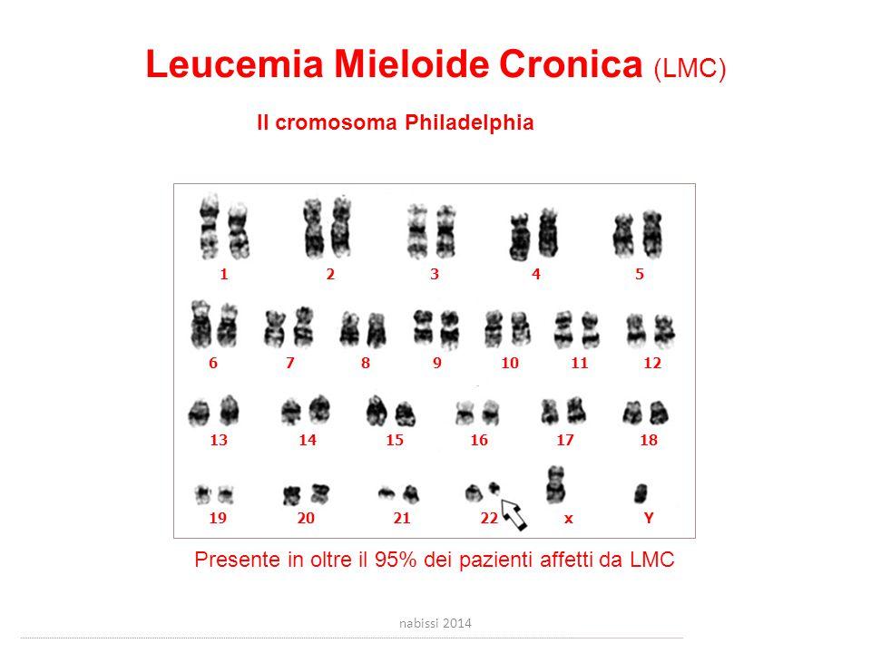 Leucemia Mieloide Cronica (LMC) Il cromosoma Philadelphia 12345 6781011912 131415161718 19202122xY Presente in oltre il 95% dei pazienti affetti da LMC nabissi 2014