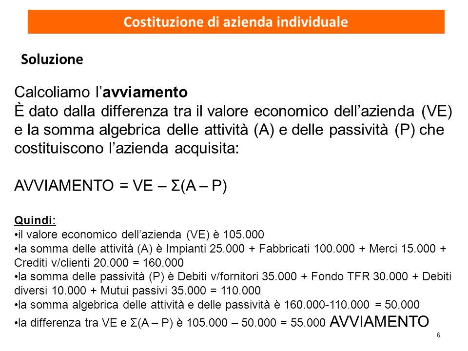 6 Calcoliamo l'avviamento È dato dalla differenza tra il valore economico dell'azienda (VE) e la somma algebrica delle attività (A) e delle passività
