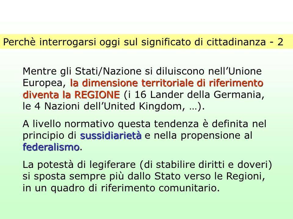 Perchè interrogarsi oggi sul significato di cittadinanza - 2 la dimensione territoriale di riferimento diventa la REGIONE Mentre gli Stati/Nazione si